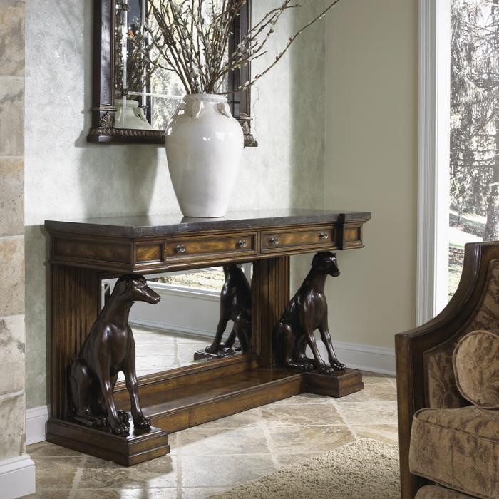 CONSOLE-HAUT-DE-GAMME-SCULPTURE-CHIENS-MOBILART-table-ronde-maison-ethier-verre-decorer-salon-tables-table-tables-basses-tables-a-cafe-decoration_design_interieur_ameublement_quebec_canada