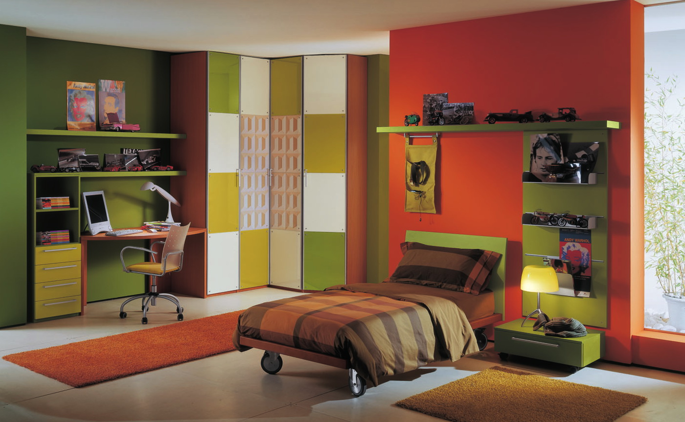 Enchanting-Contemporary-Boys-Bedroom-Ideas-with-Orange-and-Green-Accent-Wall-Color-Furnished-with-Single-Bed-Applying-Roll-Platform-Design-also-Completed-with-Desk-and-Office-Chair