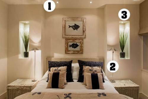 (1) L'éclairage général balaie toute la chambre (2) L'éclairage fonctionnel pour lire ou travailler au lit et (3) L'éclairage d'accent pour mettre un élément en valeur et donner de la dimension à la pièce